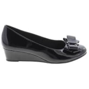 American Eagle Black Patent Leather Bow Wedges